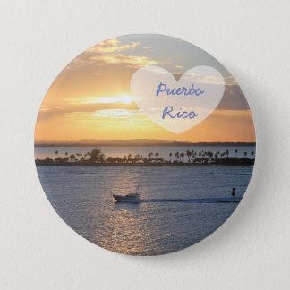 I Love Puerto Rico Sunset Ocean Button