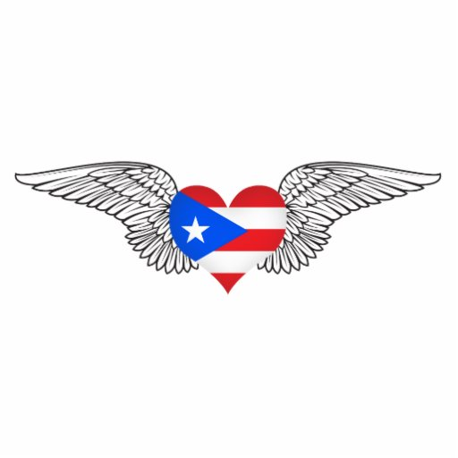 I Love Puerto Rico -wings Acrylic Cut Out