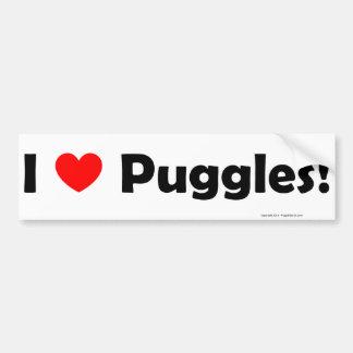 I Love Puggles Bumper Sticker