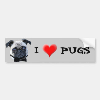 I Love Pugs bumper sticker