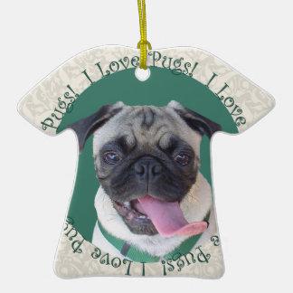 I Love Pugs Christmas Ornaments