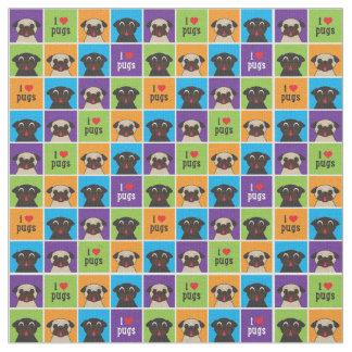 I Love Pugs Color Squares Fabric