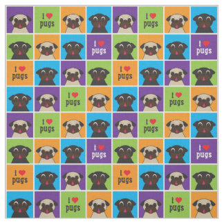 I Love Pugs Color Squares Large Pattern Fabric