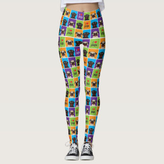 I Love Pugs Colour Squares Fawn and Black Pugs Leggings