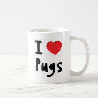 I Love pugs Basic White Mug