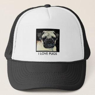 I LOVE PUGS TRUCKER HAT