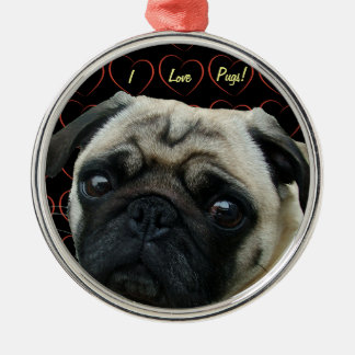 I Love Pugs with Hearts Silver-Colored Round Decoration
