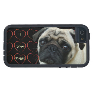 I Love Pugs with Hearts iPhone 5 Case