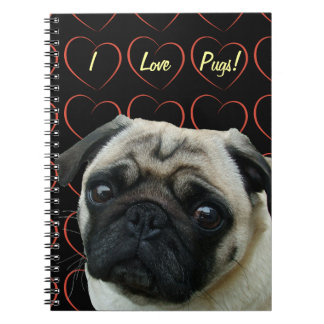 I Love Pugs with Hearts Note Book