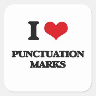 I Love Punctuation Marks Square Sticker