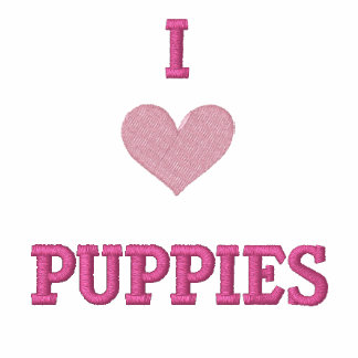 I LOVE PUPPIES - GREAT GIFT IDEA! EMBROIDERED HOODED SWEATSHIRT