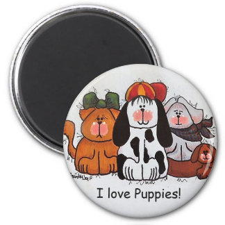 I Love Puppies Magnet