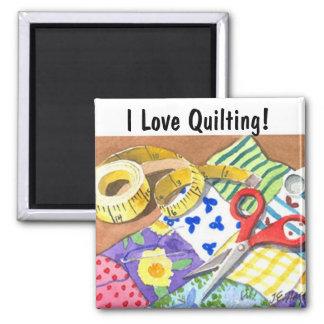 I Love Quilting Square Magnet