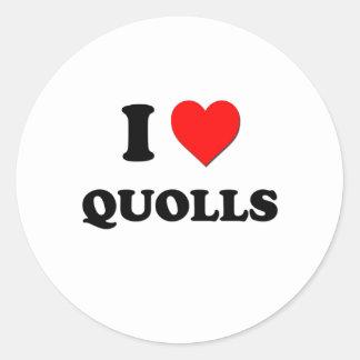 I Love Quolls Round Sticker