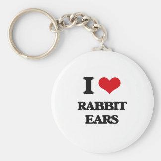 I love Rabbit Ears Basic Round Button Keychain