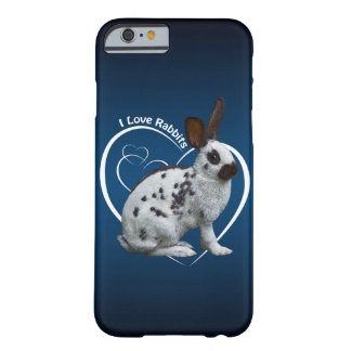 I Love Rabbits iPhone 6 Case (Blue/Black)
