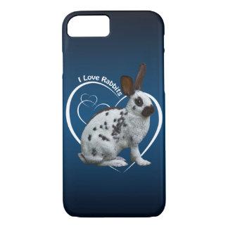 I Love Rabbits iPhone 8/7 Case (Blue/Black)