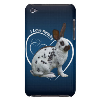 I Love Rabbits iPod Case (Blue/Black)