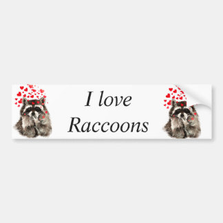 I love Raccoons Funny Raccoon Blowing Kisses Love Bumper Sticker