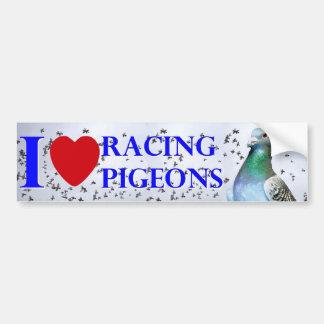 I love racing pigeons pegatina de parachoque