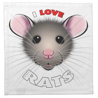I love Rats napkin, cute brown rattie Napkins