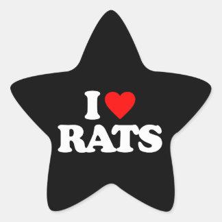 I LOVE RATS STAR STICKER