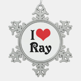 I Love Ray Snowflake Pewter Christmas Ornament