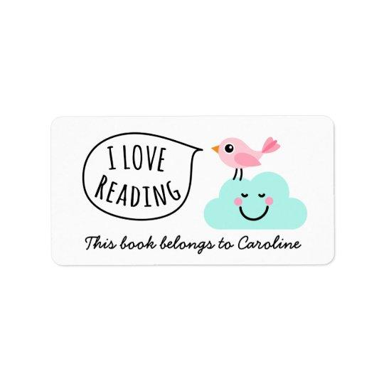 I love reading pink bird happy cloud bookplate label