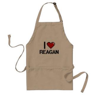 I Love Reagan Digital Retro Design Adult Apron