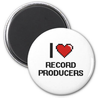 I love Record Producers 6 Cm Round Magnet