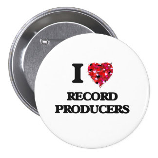 I love Record Producers 3 Inch Round Button
