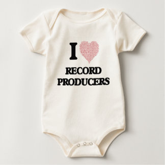 I love Record Producers (Heart made from words) Baby Bodysuits