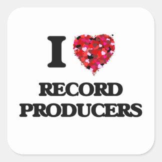 I love Record Producers Square Sticker