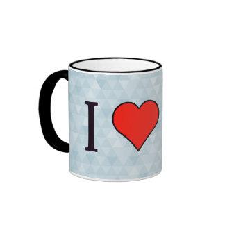 I Love Rectangular Geometrical Shape Ringer Mug