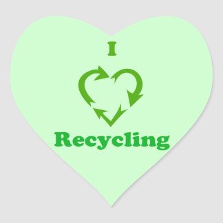 I Love Recycling Heart Sticker