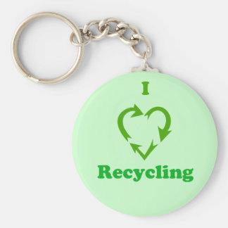 I Love Recycling Keychain