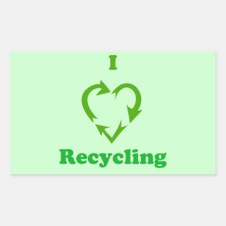 I Love Recycling Rectangular Sticker
