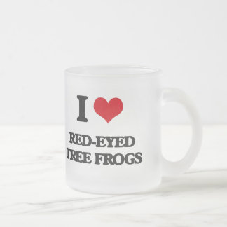 I love Red-Eyed Tree Frogs Frosted Glass Mug