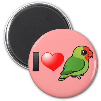 I Love Red-headed Lovebirds 6 Cm Round Magnet