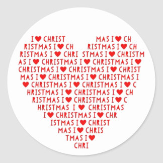 I Love Red Heart Christ Christmas Postage Stickers