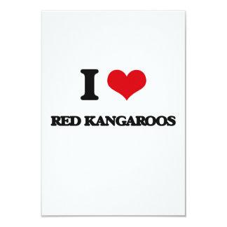 "I love Red Kangaroos 3.5"" X 5"" Invitation Card"