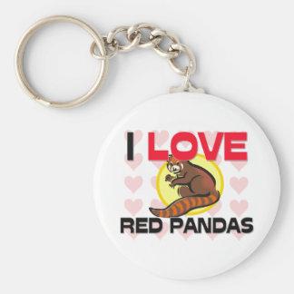 I Love Red Pandas Key Ring