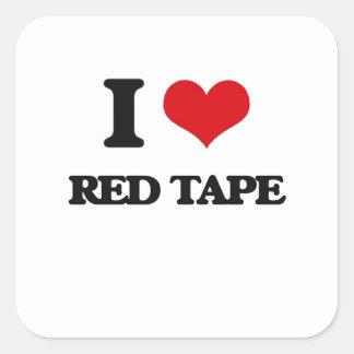 I Love Red Tape Square Sticker