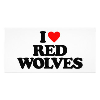 I LOVE RED WOLVES PICTURE CARD