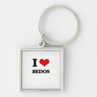 I Love Redos Silver-Colored Square Keychain
