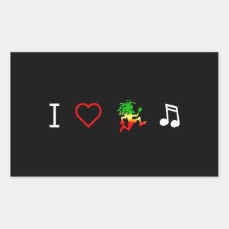 I Love Reggae Music Rectangular Sticker
