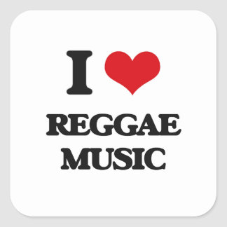 I love Reggae Music Square Sticker