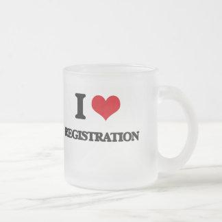 I Love Registration Frosted Glass Mug