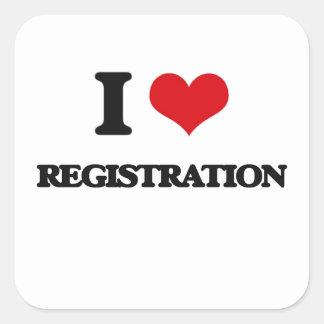 I Love Registration Square Sticker