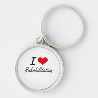 I Love Rehabilitation Silver-Colored Round Key Ring